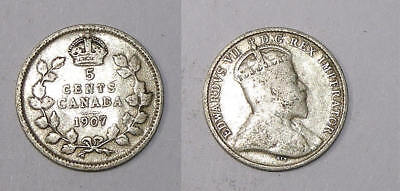 1907 Canada Sterling Silver 5 Cents Problem Free Vf Inv#310-23