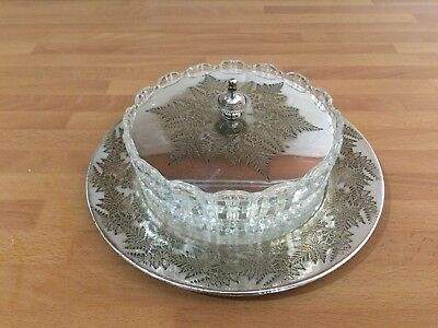 vintage round silver plated butter / preserve dish with glass liner