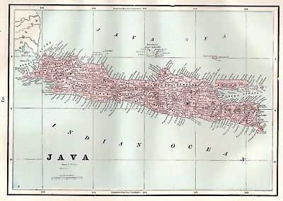 1892 Antique Map of JAVA Indonesia Vintage Original Map Gallery Wall Art 4499