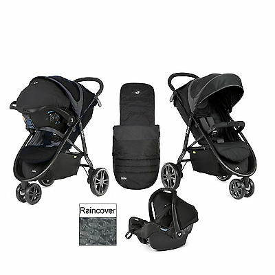 New Joie Litetrax Midnight 3 Wheel Travel System Car Seat Footmuff And Raincover