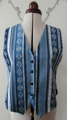 Vintage 1980's Denim Fabric Printed Waistcoat in Shades of Blue UK Size 12-14