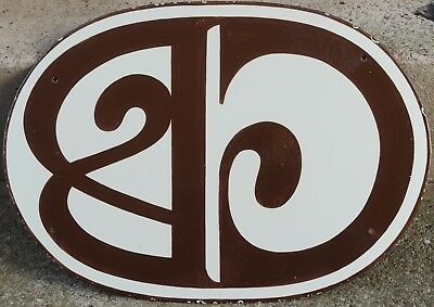 Giant old French house number 25 door gate plate plaque enamel steel metal sign