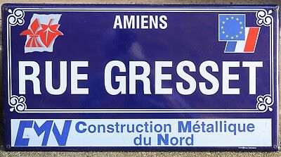 Large French enamel street sign road name plaque Rue Gresset Amiens flag + EU
