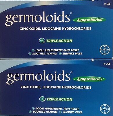 2x Germoloid Suppositories 24 Triple Action Soothing Local anaesthetic