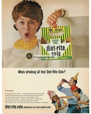 1965 DIET-RITE COLA Kids Dad Wearing Party Hats Vtg Print Ad