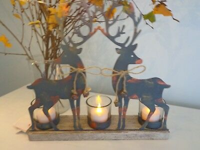 CHRISTMAS TEA LIGHT HOLDER 2 Stags, lovely table decoration! Holds 3 candles ***