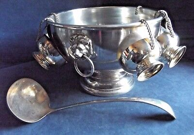 GOOD Large ~ SILVER Plated ~ LIONS Head ~ PUNCH Bowl, 6 CUPS & LADLE ~ c1950