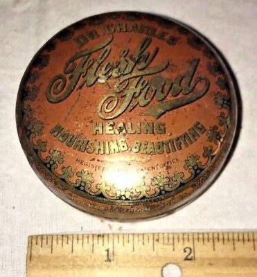 Antique Dr Charles Flesh Food Skin Medicine Remedy Salve Tin Litho Can Pharmacy