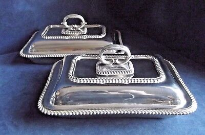 "SUPERB Large PAIR 11"" ~ SILVER Plated ~ ORNATE Serving DISHES ~ c1880"