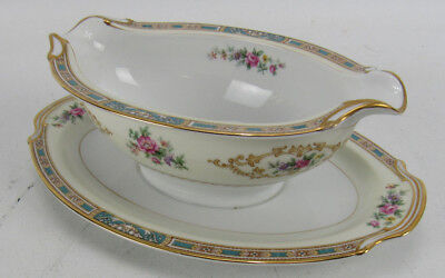 Noritake China Colby Blue 5032 Gravy Sauce Boat With Attached Under Tray