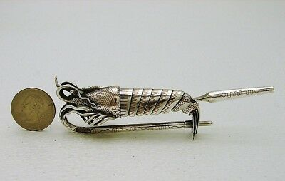 Mrked Japanese Silver w Copper Inlay Figural Shrimp Lobster Utensil Sash Clasp