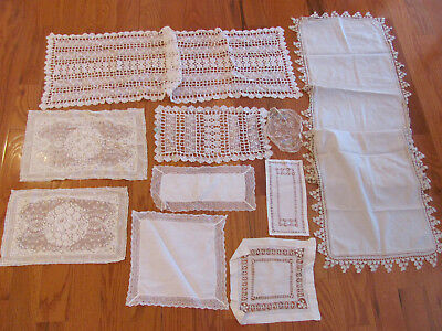 10Pc BOX LOT) Edwardian DOWNTON ABBEY Style Hnd-Md LACE RUNNER Antimacassars+