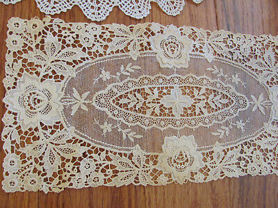 7Pc LOT) EDWARDIAN LACE DOILIES-RUNNERS RETICELLA BUTTERFLY Hnd-Md APPENZEL LACE