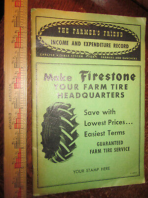 Vintage Firestone The Farmers Friend Income Expenditure Record Book