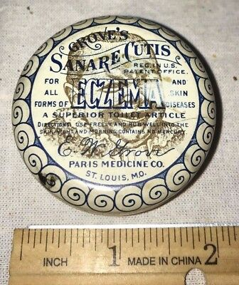 Antique Groves Eczema Skin Paris Medicine Co Salve Tin Litho Can Baby Apothecary