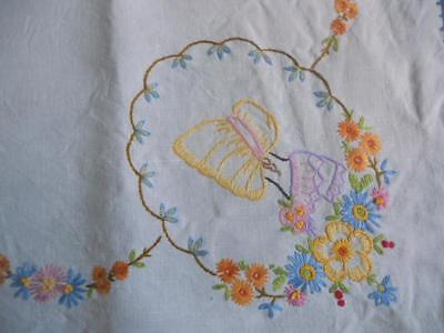 "Stunning Vintage Hand Embroidered Crinoline Lady Hood Style Tablecloth 36"" x 36"""