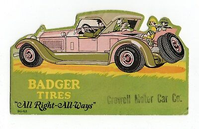 "BADGER TIRES Die-cut Ink Blotter - 3½""x6⅛"", Women in 1920's Roadster, Exc Cond"