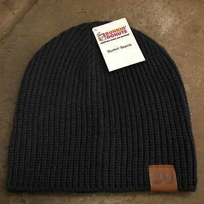 New Dunkin Donuts Beanie Blue / Gray Striped Hat