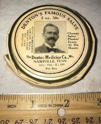 Antique Unopened Dentons Famous Salve Tin Vintage Medicine Can Nashville Tn Drug