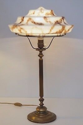 VERY LARGE MAGNIFICENT ORIGINAL ART DECO BANKERS LAMP TABLE Luminaire 1930 Brass