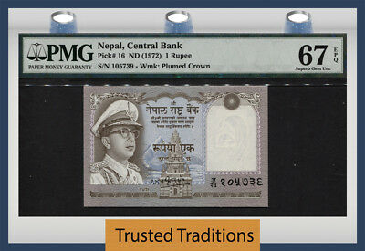 Tt Pk 16 1972 Nepal 1 Rupee Pmg 67 Epq Superb Gem Unc Pop Two None Finer 1 Of 2!
