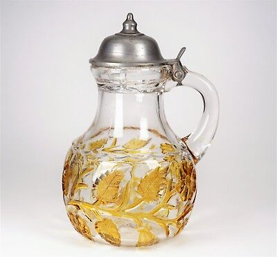 Antique Hobbs Brockunier Yellow Stained on Clear Glass Syrup Pitcher