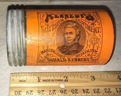 Antique Kennedy Ointment Glass Jar Tin Lid Salve Medicine Roxbury Ma Apothecary