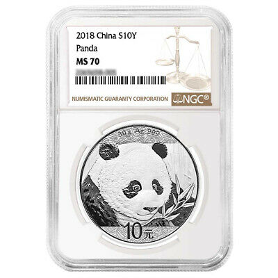2018 10 Yuan Silver China Panda NGC MS70 Brown Label