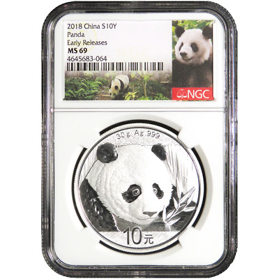 2018 10 Yuan Silver China Panda NGC MS69 Panda ER Label