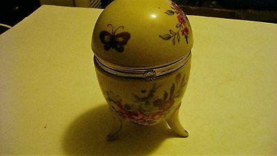 Vintage Lefton Painted Egg With Legs and Hinged Top Rare