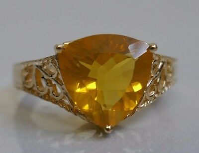 Vintage 18k Yellow Gold Trillion Cut Citrine Ring Size 7 Open Work Setting