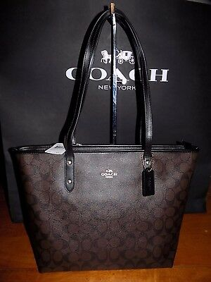 NWT Coach City Zip Tote Bag Purse in  COATED CANVAS  BROWN & BLACK  F58292  $295