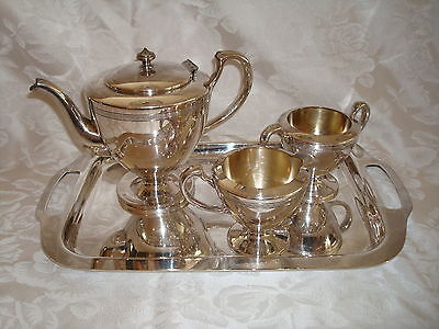 EXCEPTIONAL EDWARDIAN SILVER COFFEE TEA SERVICE 4 PIECES Wm. A. Rogers
