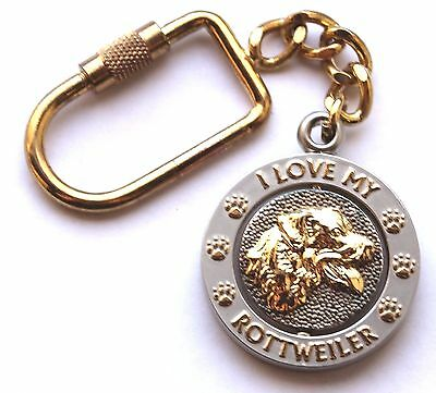 NEW I Love My ROTTWEILER Key Chain Ring or Purse Charm Collectible Spinner