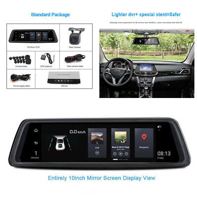 """10"""" IPS 4G Android GPS FHD 1080P WIFI Dual lens Car DVR Rearview Mirror Camera"""