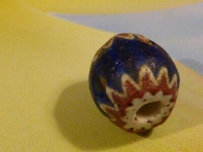 Antique Chevron African World Trade Bead 8.2 By 8 Mm 4 Layer Early