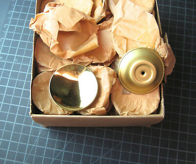 "Vintage  2 1/4"" Brass Concave Drawer Cabinet Pull / Knob NOS Set of 4"