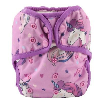 Baby Diaper Cover Nappy Cover Double Gussets Reusable One Size For Girls Unicorn