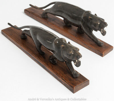 Pair of BLACK PANTHER Carved Horn Cats Indian Tigers Antique Vintage Garnitures