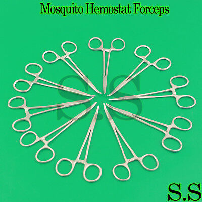 "10 pcs Mosquito Hemostat Locking Forceps 5"" Curved Stainless Steel"