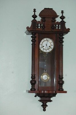 Antique Badische Vienna Wall Clock With Key,excellent.