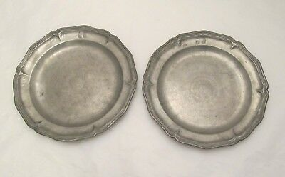 A Fine Pair of 19thC French Pewter Side Plates - Gadrooned Edge - Touchmark