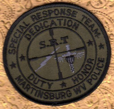 Martinsburg West Virginia Police Patch  SRT Special Response Team  Subdued
