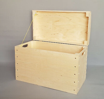 Extra Large Wooden Box Chest Storage Toy Tools Plain Wood Trunk Lid Craft Boxes