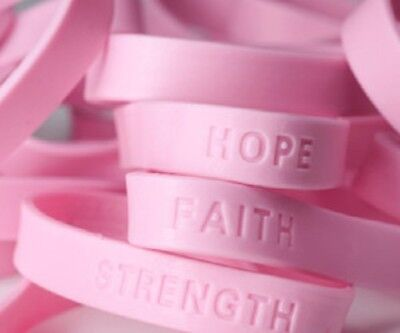 Lot of 24 Breast Cancer Rubber Sayings Wrist Band Bracelets Pink