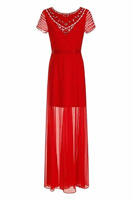 3bdf79ea1d0f Red Maxi Dress Occasion Panelled Short Sleeve Sheer Womens Ladies Size UK  12 16
