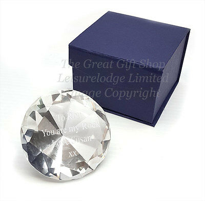 BEAUTIFUL LEAD CRYSTAL GLASS PAPERWEIGHT Quality Mens Ladies Desk Gift ENGRAVED