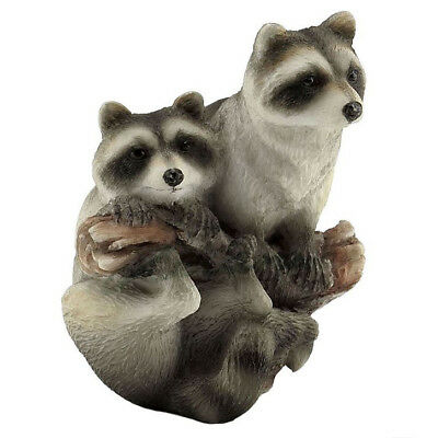 "Raccoons On Branch Figurine 3""H Highly Detailed Polystone New In Box!"