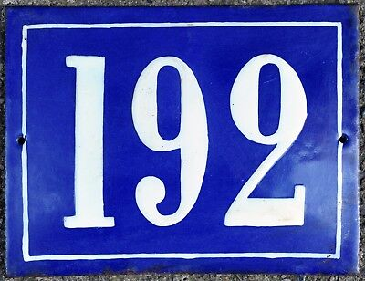 Large old French house number 192 door gate plate plaque enamel steel metal sign