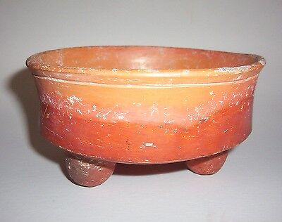 Pre Columbian pottery Bowl with rattles in feet.  ex German collection